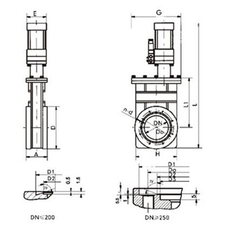 CCQ型气动超高真空插板阀结构图