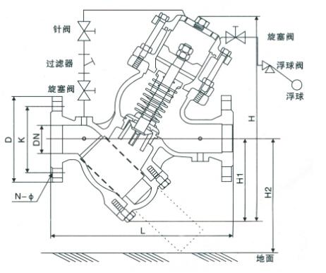 yq98003型过滤活塞式遥控浮球阀结构图