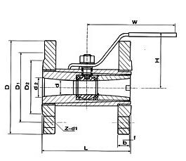 广式法兰球阀结构图