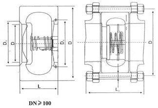 H71单瓣对夹升降式止回阀 尺寸图2