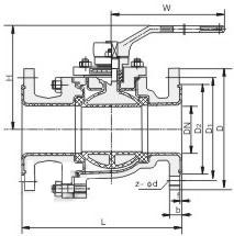 衬氟球阀 结构图