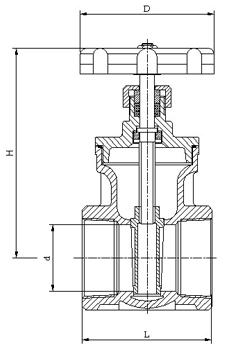 黄铜丝口闸阀,结构图